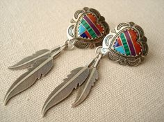SALE Vintage Native American Style Mosaic Stone Inlay Stamped Sterling Silver Earrings