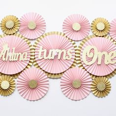 First birthday decorations, blush decorations, blush pink paper fan backdrop, paper rosettes, custom paper fans, custom birthday decorations, pink and gold party decorations, pink and gold first birthday decorations, first birthday decorations, first birthday for baby girl, first birthday party