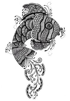 """""""Henna-style fish"""" Picture art prints and posters by Krystal Campbell - ARTFLAKES.COM"""