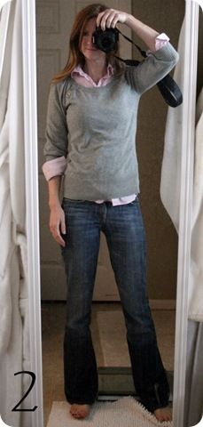 i'm really liking the look of a sweater/sweatshirt/tshirt over a button up. Could I pull it off? Basic Style, My Style, Jones Design Company, Sweatshirt Outfit, New Wardrobe, Fall Winter Outfits, Collar Shirts, Sewing Clothes, Refashion