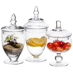 Purchase MyGift Small Clear Glass Apothecary Jars, Wedding Centerpiece, Candy Storage Bottles – 3 Piece at Discounted Prices ✓ FREE DELIVERY possible on eligible purchases. Apothecary Jars Wedding, Apothecary Decor, Glass Apothecary Jars, Glass Jars, Clear Glass, Mason Jars, Jar Centerpieces, Wedding Centerpieces, Wedding Decor