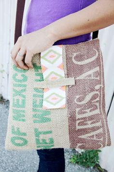 Upcycled Burlap Coffee Bag Tote with Tribal Ikat by hilltribers