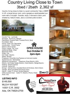 MLS 1631287 Come see this house on October 9, 2016 (Sunday) from 2-4pm. OPEN  HOUSE hosted by HOME PLACE REAL ESTATE www.homeplace.pro contact Angie Engel about this house at 580.399.5025 angieengel@homeplace.pro