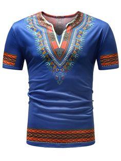 Ericdress Dashiki African Printed Slim Mens Short Sleeve T Shirt