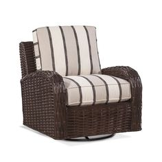 Braxton Culler Copenhagen Swivel Armchair Upholstery: Grey and Teal Stripe, Leg Color: Bisque Upholstered Dining Chairs, Dining Chair Set, Rattan Furniture, Furniture Sets, Brown Texture, Grey Cushions, Parsons Chairs, Swivel Armchair, Barrel Chair