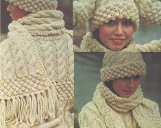 Instant PDF Download ladies aran set sweater scarf hat & mitts knitting pattern 34/40 inch bust (284)