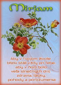 Miriam  Aby v Tvojom živote blízki stáli vždy pri Tebe, aby v ňom bolo veľa slnečných dní, zdravia, lásky, pohody a porozumenia
