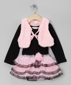 Black Ruffle Dress & Pink Plush Vest - Infant, Toddler & Girls by Popatu by Posh #zulily #zulilyfinds