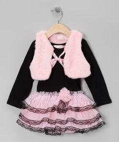 Black Ruffle Dress & Pink Plush Vest - Infant, Toddler & Girls by Popatu by Posh #zulily #zulilyfinds