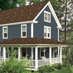 Trendy Exterior Paint Colors For House With Siding Brown Roofs Brown Roof Houses, Dark Blue Houses, Brown Roofs, House Roof, Exterior Paint Colors For House, Paint Colors For Home, Exterior Colors, Exterior Design, Paint Colours