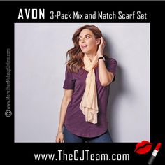 """3-Pack Mix and Match Scarf Set. Avon. So flowy and feminine! The 3-pack of scarves are an easy way to """"chic up"""" any look. These soft scarves are the perfect way to top off any look.  Dress up your favorite basics! Pair these beautiful scarves with the Perfect 4-Pack of Tees. NEW! Regularly $19.99.  #CJTeam #Avon #Style #Sale #Fashion #New  #C10 #SignatureCollection #Scarf #Scarves #Avon4me #Gift #Mom FREE shipping with any $40 online Avon purchase.  Shop Avon fashion online…"""