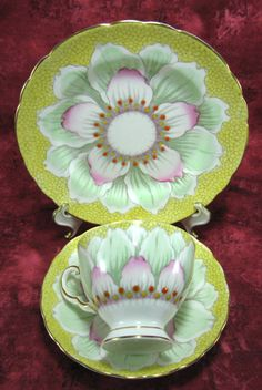 "Vintage Cup And Saucer With Plate Art Deco. ""Repinned by Keva xo""."