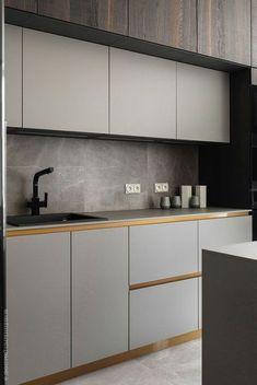 Modern Kitchen Interior Мужская квартира в Санкт-Петербурге с камином и сауной кв. Kitchen Ikea, Home Decor Kitchen, New Kitchen, Kitchen Knobs, Kitchen Sink, Minimalist Home Decor, Minimalist Kitchen, Minimalist Interior, Modern Minimalist