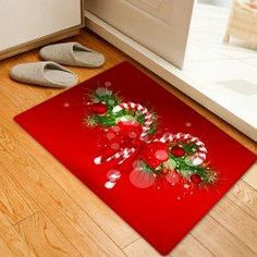 Christmas Candy Cane Pattern Water Absorption Area Rug - Red W16 Inch * L24 Inch Coral FLeece Bath rugs