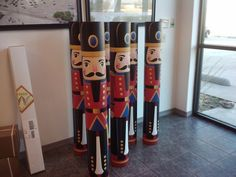 Nutcrackers made from banner tubes wrapped with IJ3510!