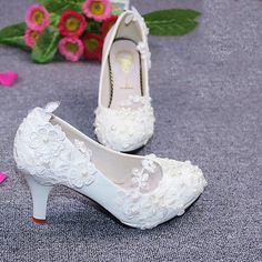 fa2b3313 Wedding Pearl Lace Flower Prom Party Bridal Bridesmaid Flat High Low Heels  shoes Buty Na Obcasie