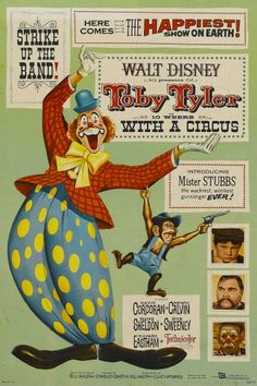 Poster for the Disney movie Toby Tyler (1960) starring Kevin Corcoran and child actress Barbara Beaird