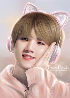 """Puppy by day, Kitty by night - Baekhyun Do not repost! Chanbaek Fanart, Baekhyun Fanart, Exo Chanbaek, Kpop Fanart, Chanyeol, Exo Ot12, Taehyung And Baekhyun, Chibi, Exo Anime"