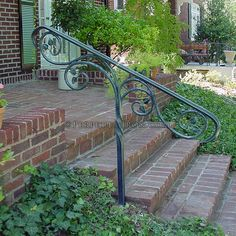 Perpetua Iron - One Post Rail Step Railing Outdoor, Outside Stair Railing, Porch Step Railing, Wrought Iron Porch Railings, Porch Handrails, Exterior Handrail, Garden Railings, Outdoor Stair Railing, Iron Handrails