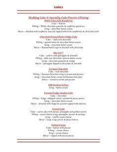 wedding cake flavor and fillings list cool
