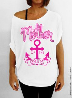 "Use coupon code ""pinterest"" Nautical Mother of the Bride - Anchor - White with Pink Longer Length Slouchy Tee (Small - Plus Sizes) by DentzDesign"
