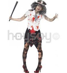 #Disfraz de policía #zombie mujer. Este disfraz consta de: falda, camiseta, corbata y gorra #Halloween #Disfraces #Carnaval