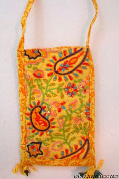 Sling Bag Crossbody Yellow Gujarati with Sequin and Embroidery Work from West India #bestofEtsy #design