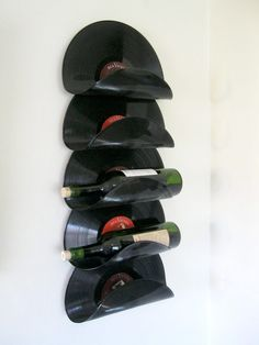 Wine Rack Made From Upcycled Vinyl Records                                                                                                                                                                                 More