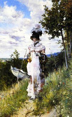 The Summer Stroll ....  1874. GIOVANNI BOLDINI ..  .... 12/31/1842--7/11/1931