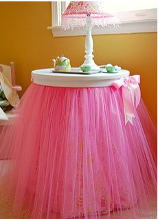 A tutu table cloth for her bedroom