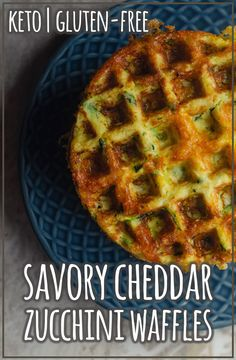 Savory cheddar zucchini waffles made using cheddar cheese, shredded zucchini and coconut flour. Super simple and delicious. Low Carb Waffles, Healthy Waffles, Savory Waffles, Gluten Free Waffles, Keto Pancakes, Eat Healthy, Healthy Meals, Shredded Zucchini Recipes, Gluten Free Zucchini Recipes