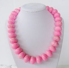 Chunky Pink Turquoise Necklace by PolishedPlum on Etsy, $38.00