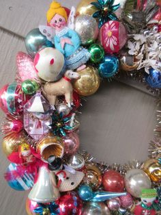Vintage Ornament Christmas Wreath Tinsel by LadidaHandbags on Etsy