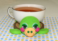 Coasters for drinks Turtle Stand for the cup Cup by QuillingLife