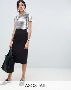 Buy ASOS DESIGN Tall mix & match pencil skirt at ASOS. Get the latest trends with ASOS now. Looks Style, Looks Cool, Mix Match, Skirt Fashion, Fashion Outfits, Asos, Tube Skirt, High Waisted Pencil Skirt, Inspiration Mode
