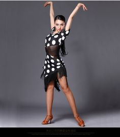 dbb379f123b Aliexpress.com   Buy 2016 Red white polka dot sexy Latin dance dress for women  tassel Latin dance costume performance dress 3 sizes available MD124 from  ...