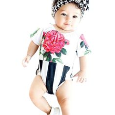 d75c90d14ce 2017 Baby Girl Rompers Summer Girls Clothing Flower Newborn Baby Clothes  Cute Short Sleeve Baby Jumpsuits Infant Girls Clothing