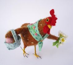 Needle Felted Spring Chicken with Spring Flowers by MissBumbles, $55.00