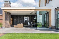 Small House Extensions, Outdoor Decor, Corner Summer House, Porch Fireplace, Beach House Design, Backyard Pavilion, Outdoor Kitchen Patio, House Exterior, Farmhouse Style House
