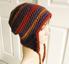 Ear Flap Beanie Crocheted in Eggplant Gold and Rust by RoseJasmine