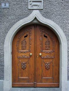 ♅ Detailed Doors to Drool Over ♅  art photographs of door knockers, hardware & portals - Feldkirch, Vorarlberg, Österreich carved wood doors