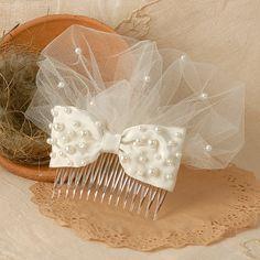 Ivory Wedding Hair Accessory Bridal Beaded Bow by VelvetTeacup, $48.00