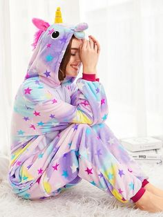 To find out about the Allover Stars Plush Unicorn Onesie at SHEIN, part of our latest Rompers ready to shop online today! Lazy Day Outfits, Funny Outfits, Cute Girl Outfits, Little Girl Outfits, Cute Pjs, Cute Pajamas, Pajamas Women, Onesie Unicorn, Unicorn Leggings