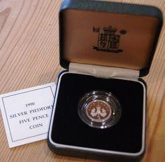 1990 UK SILVER PROOF PIEDFORT 5 PENCE COIN - CASE & COA