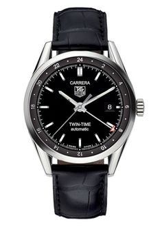 TAG Heuer Carrera Calibre 7 Gents Automatic Watch Model: WV2115.FC6180    TAG Heuer Carrera Calibre 7 Twin Time Gents Watch, Black Dial, Polished Stainless Steel 39mm Case, Black Crocodile Leather Strap, Automatic Movement, Water Resistant up to 50 Metres | Cheeky Wish List | Wedding and Birthday Gift Ideas for Men and Women