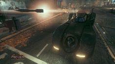 Batman Arkham Knight Screen Captures: 1989 Batmobile launching rocket.