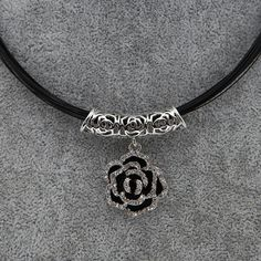 Women Choker Collar Necklace Jewelry Wire Black Rose Flower Pendant Gorgeous Hot #TrinketSea #Choker