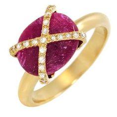 Anillo de diseño egipcio con 26 diamantes y rubí Genuinos