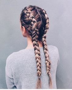 Separate your hair into two parts; then create two dutch braids right to the bot. Hairstyles, Separate your hair into two parts; then create two dutch braids right to the bottom. It's a great hairstyle and a major plus is you don't have to . Two Dutch Braids, Side Braids, Two Braids, Dutch Hair, Long Braids, Braids For Medium Hair, Dutch Boxer Braids, Dutch Pigtail Braids, Beach Braids