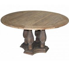 Industrial Farmhouse Round Pedestal Table: The pedestal of this round farmhouse table features four large turned columns resting on a country french styled base. A 5′ diameter top of reclaimed oak planking sits on this unique base giving it a wonderful farmhouse industrial look. Round tables are great not only for dining but for game playing and conversation. No fear of someone hitting an outside leg.